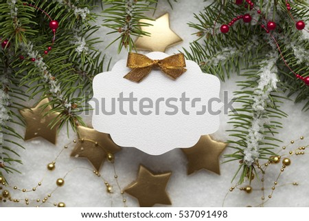 Blank paper card on Christmas background