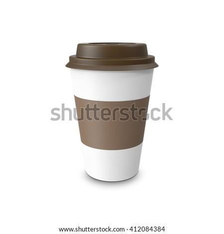 Blank paper coffee cup isolated on white background. 3D illustration