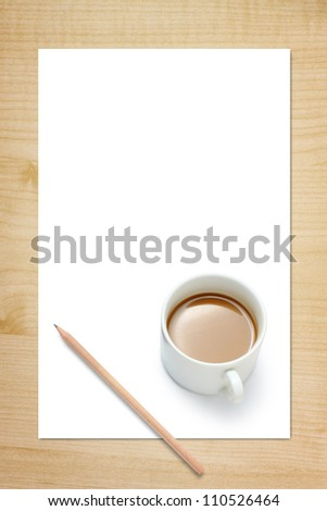 Blank Paper, Cup Of Coffee And Pencil On Wood Background - stock photo