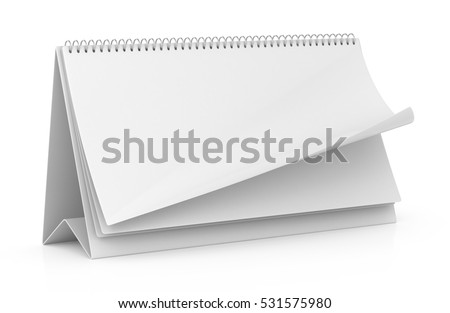 Blank paper desk spiral calendar isolated on white. 3d render
