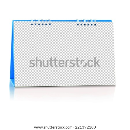 Blank paper desk spiral calendar with soft shadows. Photo isolated inside for insert picture. this has clipping path.  - stock photo
