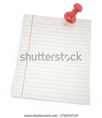 Blank paper for notes with shadows thumbtack isolated on a white background. 3d illustration - stock photo