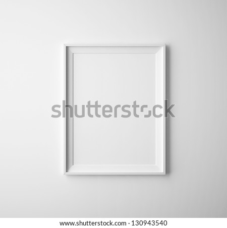 blank paper frames on white wall - stock photo