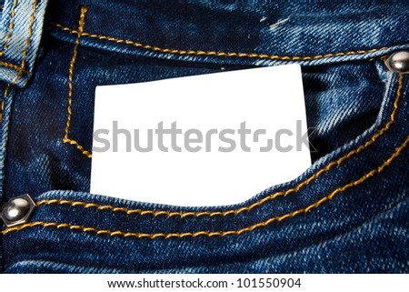 blank paper in the jeans pocket