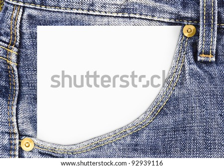blank paper in the jeans pocket close-up