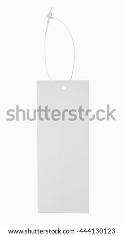 Blank paper label or cloth tag isolated on white