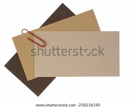 Blank paper labels connected with staple - stock photo