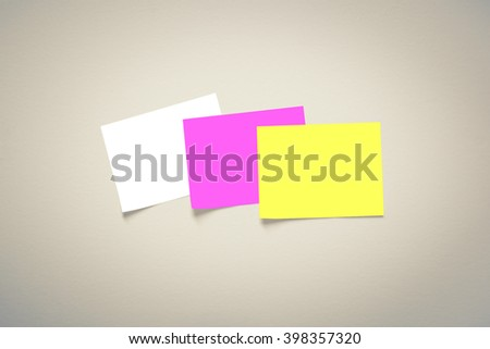 Blank Paper Note, Memo Notepad on wall background - stock photo