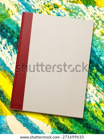Blank paper notebook on the watercolor background - stock photo