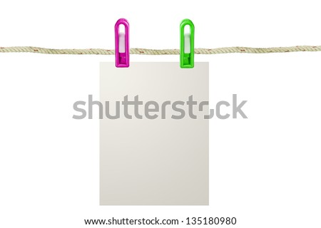Blank paper on a clothes line