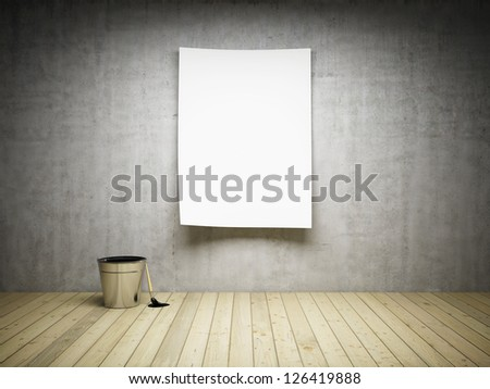 Blank paper on concrete wall