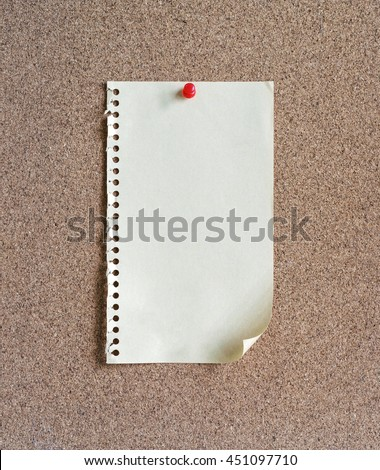 Blank Paper on cork notice board - stock photo