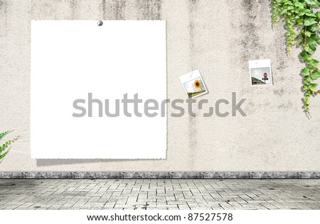 Blank paper on the wall - stock photo