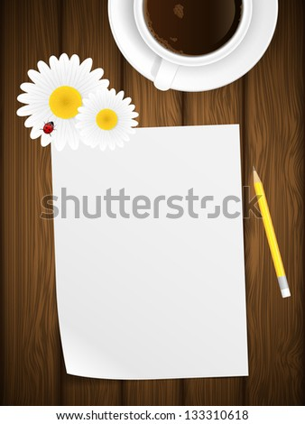 Blank paper on wooden background with flowers and ladybird. illustration. - stock photo