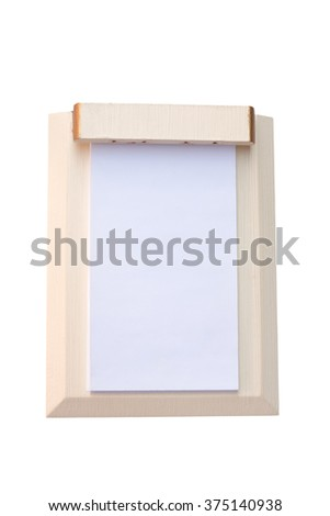 Blank paper on wooden board isolated with clipping path. - stock photo