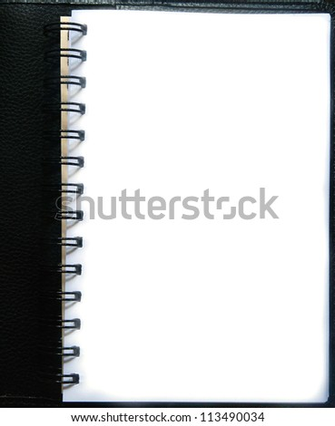 blank paper page of black notebook