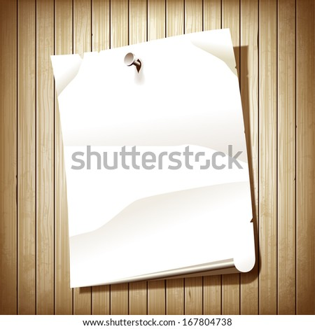 Blank paper page on wooden plank background. White paper poster nailed to wall.  - stock photo