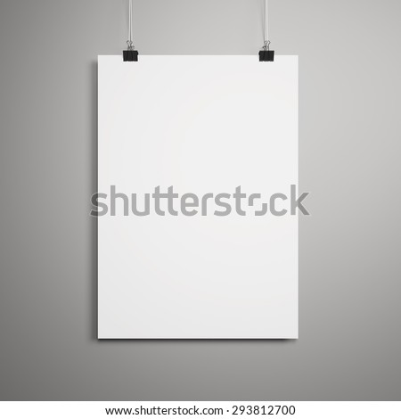 Blank paper poster on gray wall - stock photo