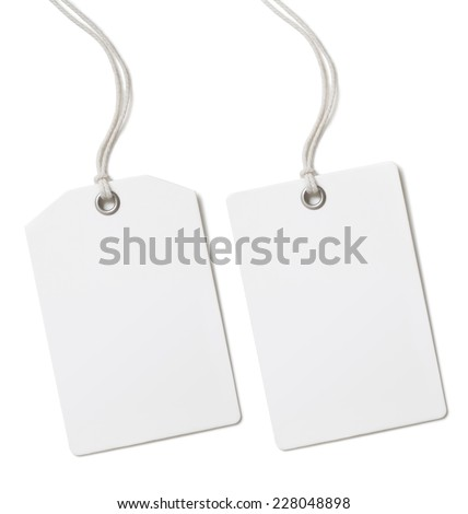 Blank paper price tag or label set isolated on white - stock photo