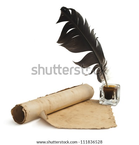 Blank paper, quill & ink - stock photo