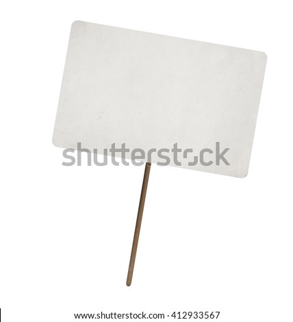 blank paper sheet on wooden stick with copy space. Isolated