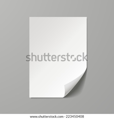 blank paper sheet template isolated on grey background - stock photo