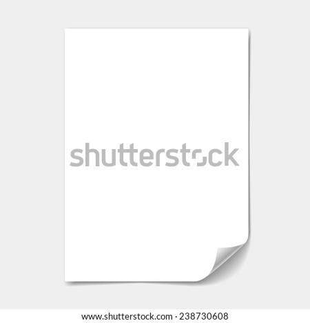 blank paper sheet with  page curl  illustration - stock photo