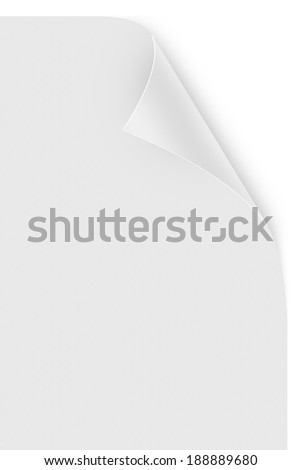 Blank paper sheet with realistic, white, glossy page curl, isolated on white background. - stock photo