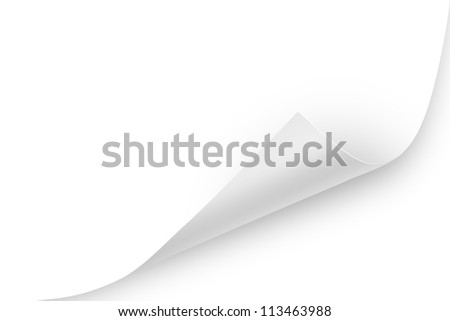 Blank paper sheet with realistic, white, glossy page curl. To use, layer mode must be multiply to make it into a transparent overlay and apply the shadows. - stock photo
