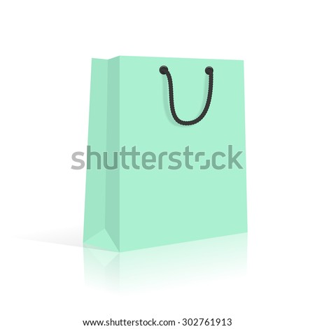 Blank Paper Shopping Bag With Rope Handles. Mint. Vector.