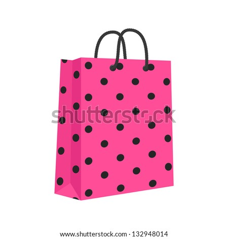 Blank Paper Shopping Bag With Rope Handles. Pink, Black. Isolated. Raster Version - stock photo