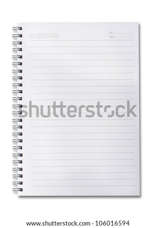 blank paper spiral notebooks isolated on whit