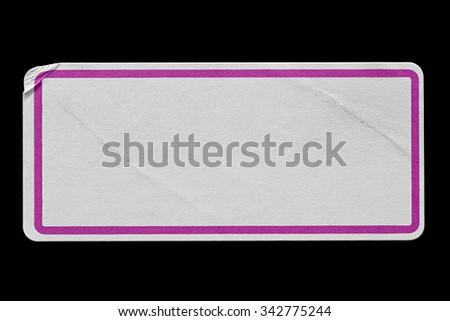 Blank Paper Tag or Label with Pink Border isolated on Black Background. Sticker or Paper Adhesive with Wrinkles and Scratches. Close Up. Top View with Copy Space for Text or Image - stock photo