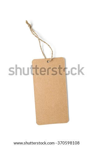 blank paper tag with string - stock photo
