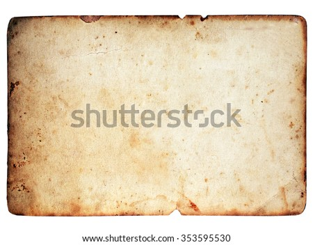 Blank paper texture isolated on white background
