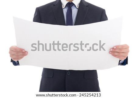 blank paper with copy space in business man hands isolated on white background