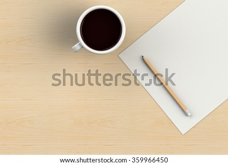 Blank paper with pencil and coffee cup on wood table