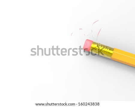 Blank Paper With Pencil Eraser Showing Erased Text Copyspace - stock photo
