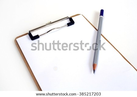 Blank Paper with pencil on Sketch Board isolated on white background