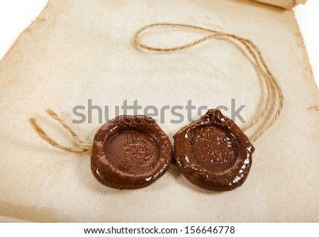 Blank paper with two wax seal close up  - stock photo