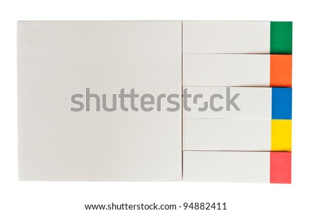blank papers with colorful post it notes isolated on white - stock photo