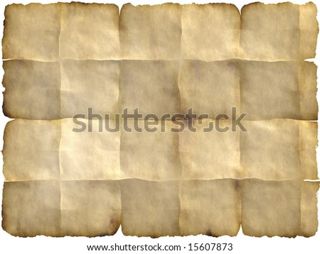 blank parchment with folded  edges which can be used as backdrop - stock photo
