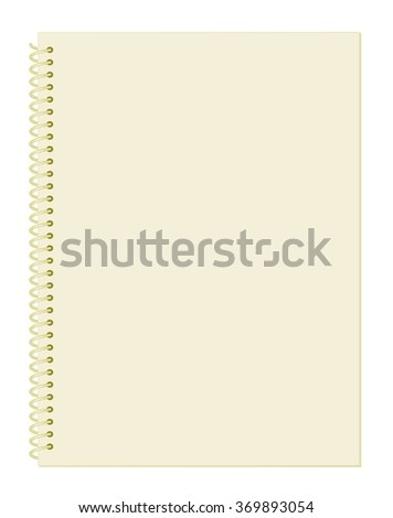 Blank Pastel Pale Brown Notebook Paper with Spiral Wire Binding isolated on White Background Illustration