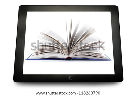 blank PC tablet computer with book open on the white - stock photo