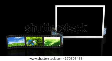 Blank photo and film with images - stock photo