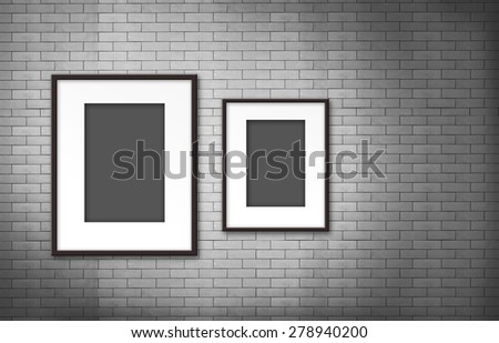 blank photo frame on old brick wall - stock photo