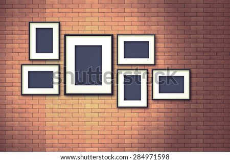 blank photo frame on old brick wall - vintage effect style pictures - stock photo