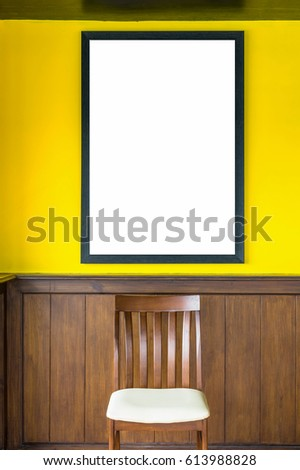 Blank photo frame on wall background, mockup decorate concept