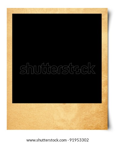 Blank photo isolated on old paper - stock photo