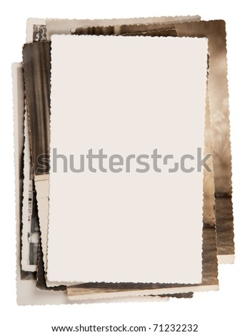 Blank photo on a stack of old photos - stock photo